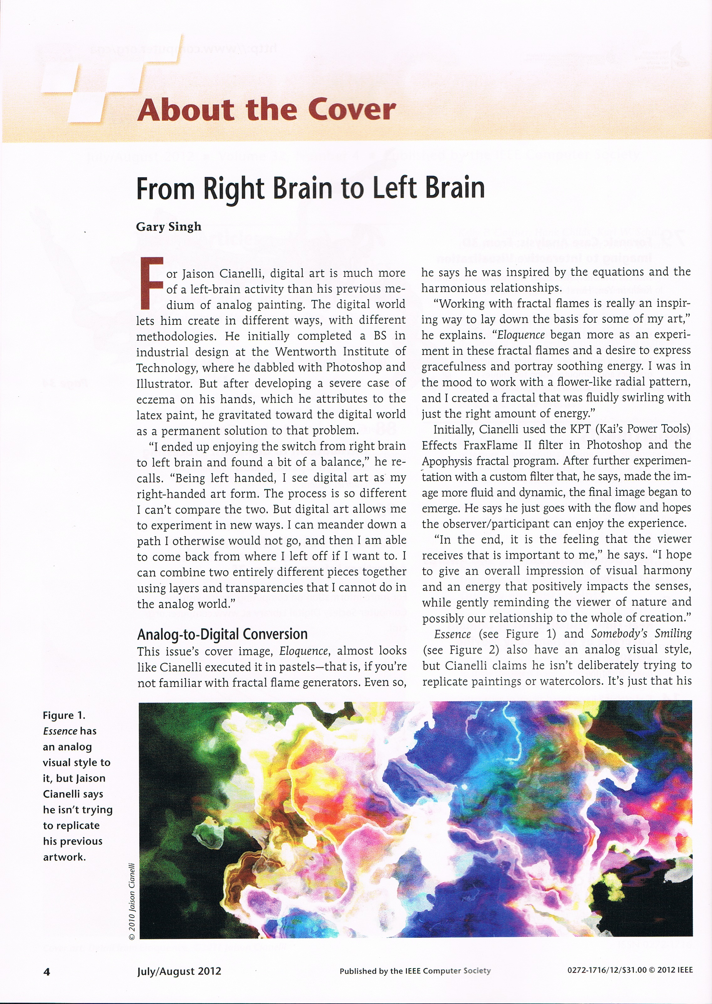 IEEE Computer Graphics Magazine, From Right Brain To Left Brain