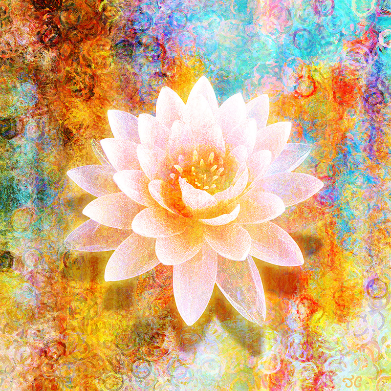 Spiritual Abstract Painting Lotus Flower Joy Of Life